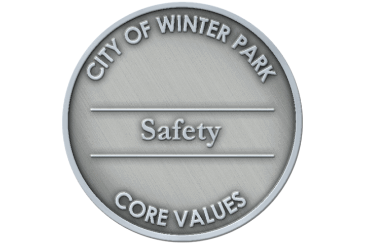 A coin representing the core value of Safety