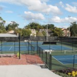 High ground view of tennis center courts
